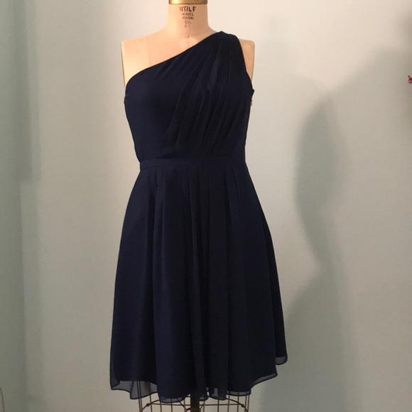 Dove And Dahlia Dresses Navy Blue One Shoulder Bridesmaid Dress